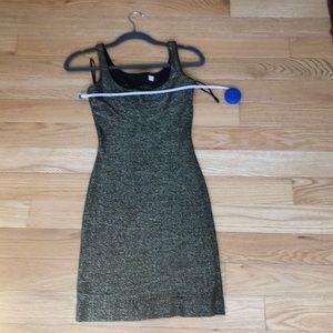 Dresses & Skirts - Women's black and gold metallic Body con dress